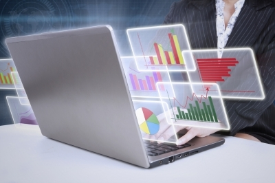 Modern business analysis with internet online on computer laptop
